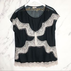 Pleione Anthropologie sheer lace black cream top